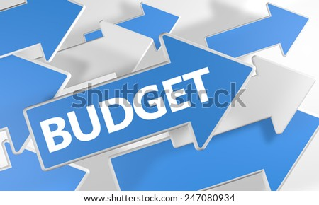 Budget 3d render concept with blue and white arrows flying over a white background. - stock photo