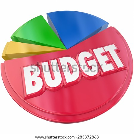 Budget 3d word on a pie chart to illustrate planning your money spending or saving for financial control - stock photo