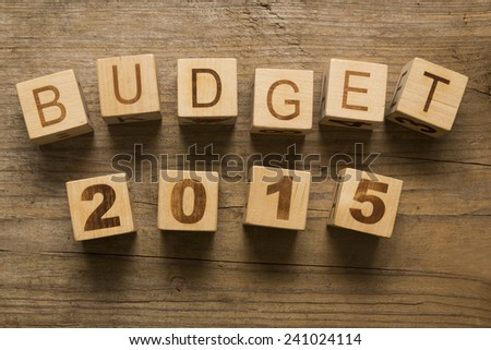 Budget for 2015 wooden, blocks on a wooden background - stock photo