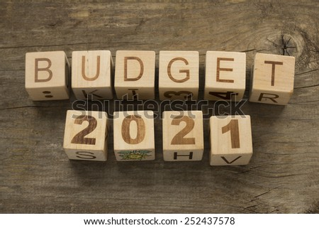 Budget for 2021 wooden, blocks on a wooden background - stock photo