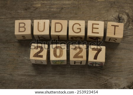 Budget for 2027 wooden, blocks on a wooden background - stock photo