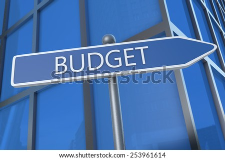 Budget - illustration with street sign in front of office building.