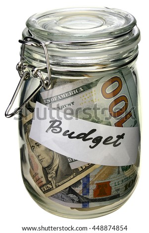 budget in a glass jar on white background with clipping path