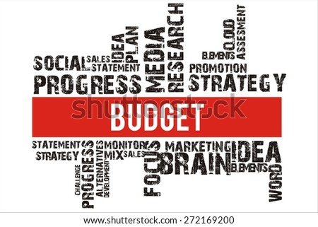 budget in word collage with red background color