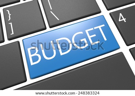 Budget - keyboard 3d render illustration with word on blue key - stock photo