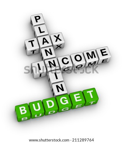 budget planning cubes crossword puzzle - stock photo