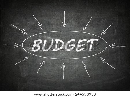 Budget process information concept on black chalkboard. - stock photo