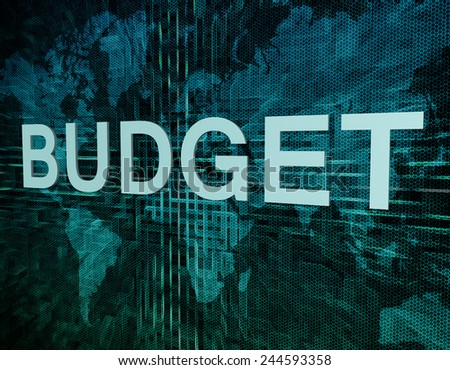 Budget text concept on green digital world map background  - stock photo