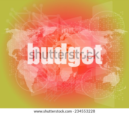 budget word on touch screen, modern virtual technology background - stock photo