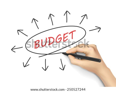 budget word written by hand on white background - stock photo