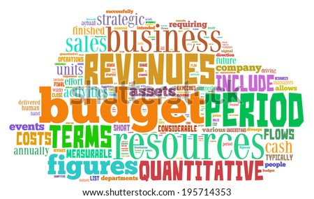 Budget - Wordcloud Concept in shape of cloud.