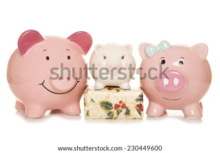 budgeting for christmas piggy banks cutout - stock photo