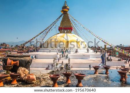 Budhanath Stupa in Kathmandu, Nepal - stock photo