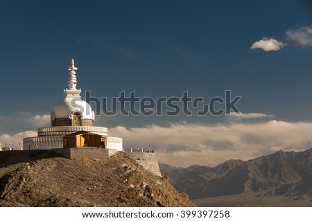 Budhist monument Shanti Stupa in Leh, Ladakh, India
