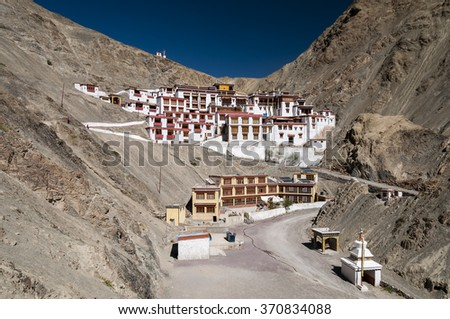 Budhist temple Rhizong  Gompa belongs to the red hat sect of Buddhism, Ladakh, India - stock photo