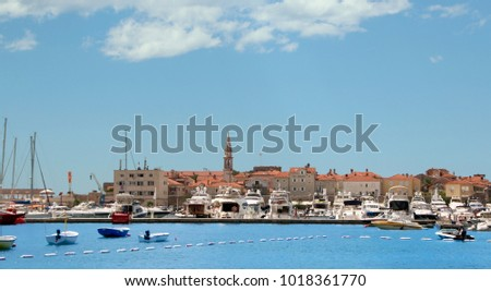 Budva, Montenegro. A view of waterfront with boats and yachts  moored up