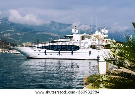 Budva, Montenegro - August 10, 2014: Luxury yacht in port. Budva. Montenegro - stock photo