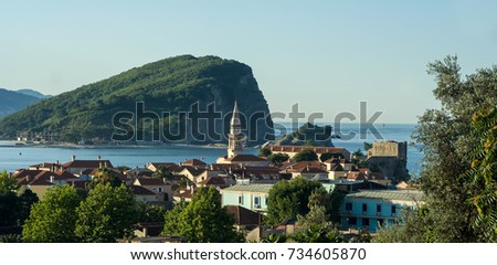 BUDVA, MONTENEGRO - July 14, 2009: It is a panoramic view of town from the beach coast of the Budva Riviera.