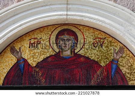 BUDVA, MONTENEGRO - JUNE 09, 2012: Virgin Mary - mosaic icon in Orthodox Christian church, on June 09, 2012 in Budva, Montenegro - stock photo