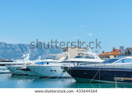 Budva, Montenegro, May, 09, 2016: Passenger boats  on the quay