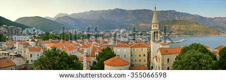 Budva Montenegro panorama of old town - stock photo