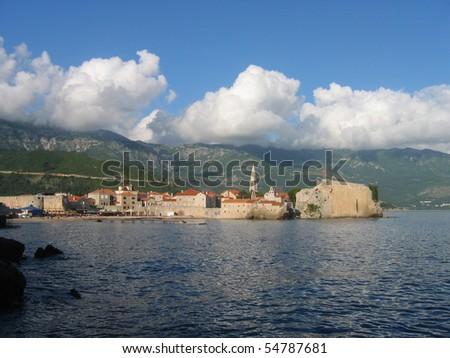 Budva's Starigrad old town landscape in montenegro. - stock photo