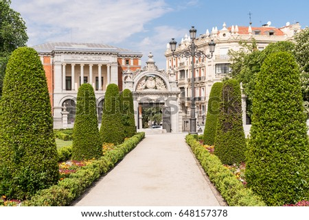 Buen Retiro Park Path, Walkway to Gate Entrance in Madrid Spain. English translation is place of pleasant retreat.