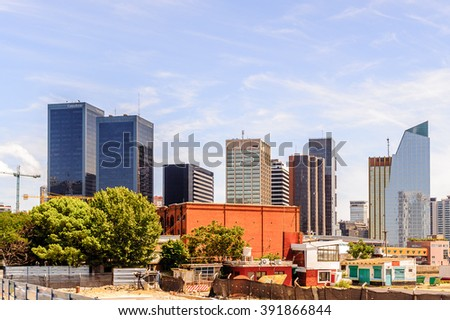 BUENOS AIRES, ARGENTINA - FEB 15, 2014: Business buildings of Puerto Madero. Port is named afret Eduardo Madero who was in charge of the construction of the port in 1882