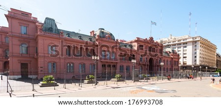 BUENOS AIRES, ARGENTINA - FEB 15, 2014: Casa Rosada (Pink House) in Buenos Aires. It's the Government house and the office of the President of Argentina