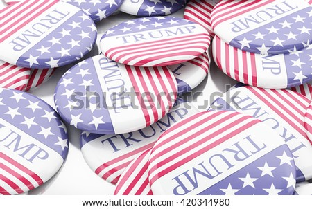 Buenos Aires, Argentina - 12 MAY, 2016: 3D Illustration of presidential campaign pins of Donald Trump running for the president's office. - stock photo