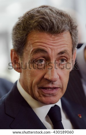 Buenos Aires, Argentina - May 6, 2016: Former French president and head of France's Les Republicains party Nicolas Sarkozy during a visit to the former clandestine detention center of the Navy School.