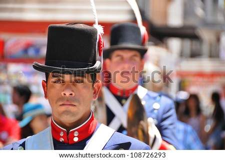 BUENOS AiRES ARGENTINA NOVEMBER 17: Young unidentified man in soldier costume parade for the commemoration of the Italian immigrant arriving in Argentina on November 17 2011 Buenos Aires, Argentina