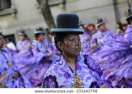 BUENOS AIRES, ARGENTINA - OCTOBER 16, 2010: Bolivian immigrants in Buenos Aires celebrate the Virgen de Copacabana (virgin of copacabana), the patron saint of Bolivia in traditional clothes and dances