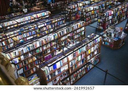 "BUENOS AIRES, ARGENTINA-October, 06, 2013.:""El Ateneo"" library of Buenos Aires Argentina city, is a particularly interesting tourist attraction being a drama adapted as a book shop."