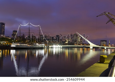 Buenos Aires, Argentina. Puerto Madero by night - stock photo
