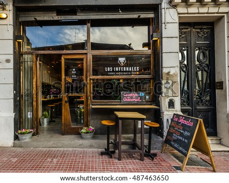 BUENOS AIRES, ARGENTINA - SEPTEMBER 16, 2016: Los Infernales, a very popular cafe that serves Argentina exotic meats in the neighborhood of San Telmo