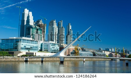 Buenos Aires Cityscape, Capital City of Argentina, Puerto Madero Neighborhood - stock photo
