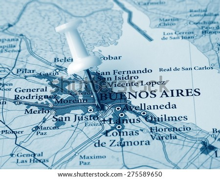 Buenos Aires destination in the map - stock photo
