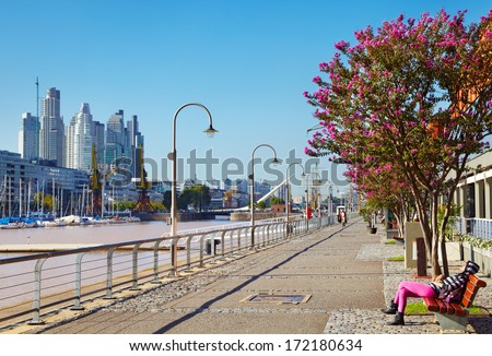 BUENOS AIRES - MARCH 15: Puerto Madero district on March 15, 2012 in B.A., Argentina. Puerto Madero  is largest renewal project and one of the most successful waterfront renewal projects in the world - stock photo