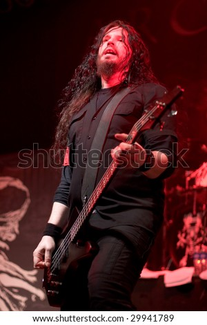 BUENOS AIRES - MAY 2:  Arch Enemy's Bassist Sharlee D'angelo performs onstage at El Teatro Theater May 2, 2009 in Buenos Aires, Argentina