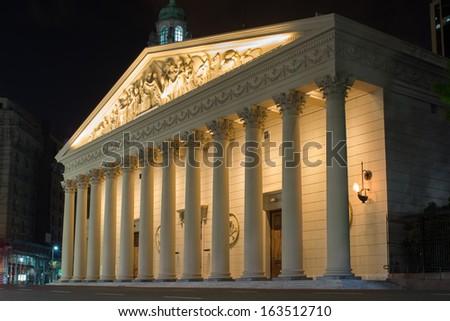 Buenos Aires Metropolitan Cathedral at night - stock photo