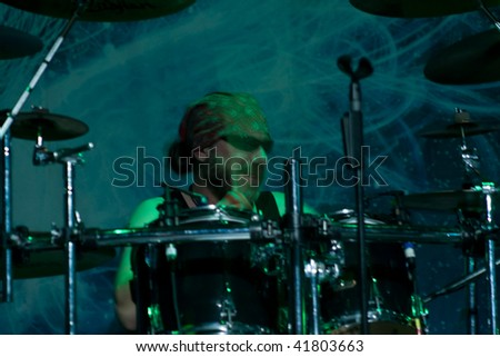 BUENOS AIRES - OCTOBER 14: STRATOVARIUS drummer JÃrg Michael performs onstage at THE END Theater October 14, 2009 in Buenos Aires, Argentina.