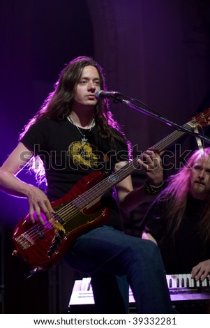 BUENOS AIRES - OCTOBER 14: STRATOVARIUS keyboardist Jens Johansson and bassist Lauri Porra performs onstage at THE END Theater October 14, 2009 in Buenos Aires, Argentina.