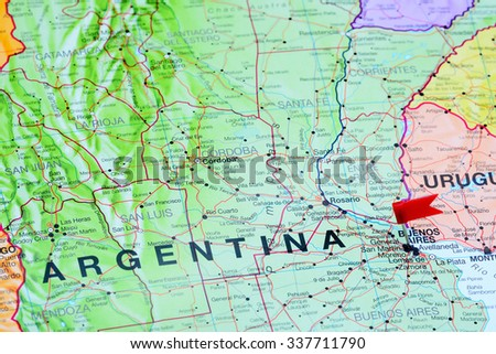 Buenos Aires pinned on a map of Argentina  - stock photo