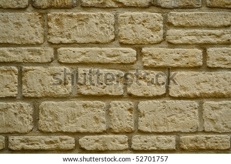 Buff brick texture - stock photo
