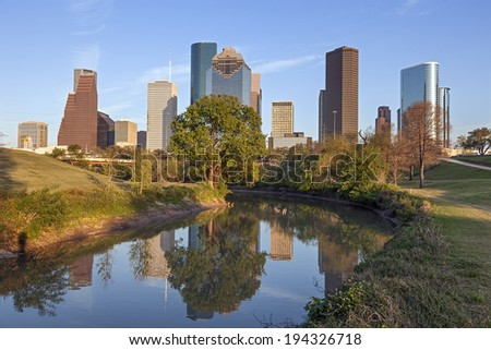 Buffalo Bayou and Downtown Houston, Texas - stock photo