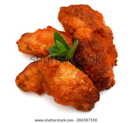 buffalo chicken wings isolated on white  - stock photo