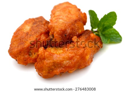 buffalo chicken wings on white background