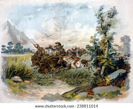 Buffalo hunt in the wild west. A buffalo hunter shooting a buffalo as two Natives ride alongside with spears. chromolithograph. c1897. - stock photo