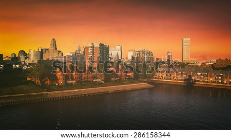 Buffalo New York Skyline Sunset. The Buffalo, New York skyline during sunset. Edited with a vintage look. All logos and trademarks removed. - stock photo